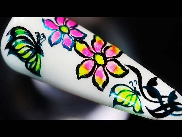 How To Create Flower And Butterfly Nature Garden Coloring Foil Water Decal Gel Nail Art Design