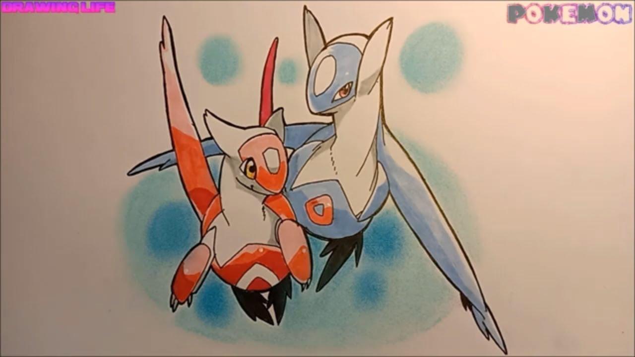 hướng dẫn vẽ cặp đôi Latias và Latios pokemon huyền thoại