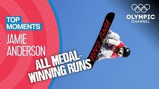 Jamie Anderson - ALL Olympic Medal Winning Runs in Snowboarding | Top Moments