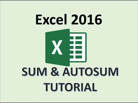 Excel 2016 - SUM Function - AutoSum Formula - How To Use Auto Sum Formula To Add Values In Cells 365