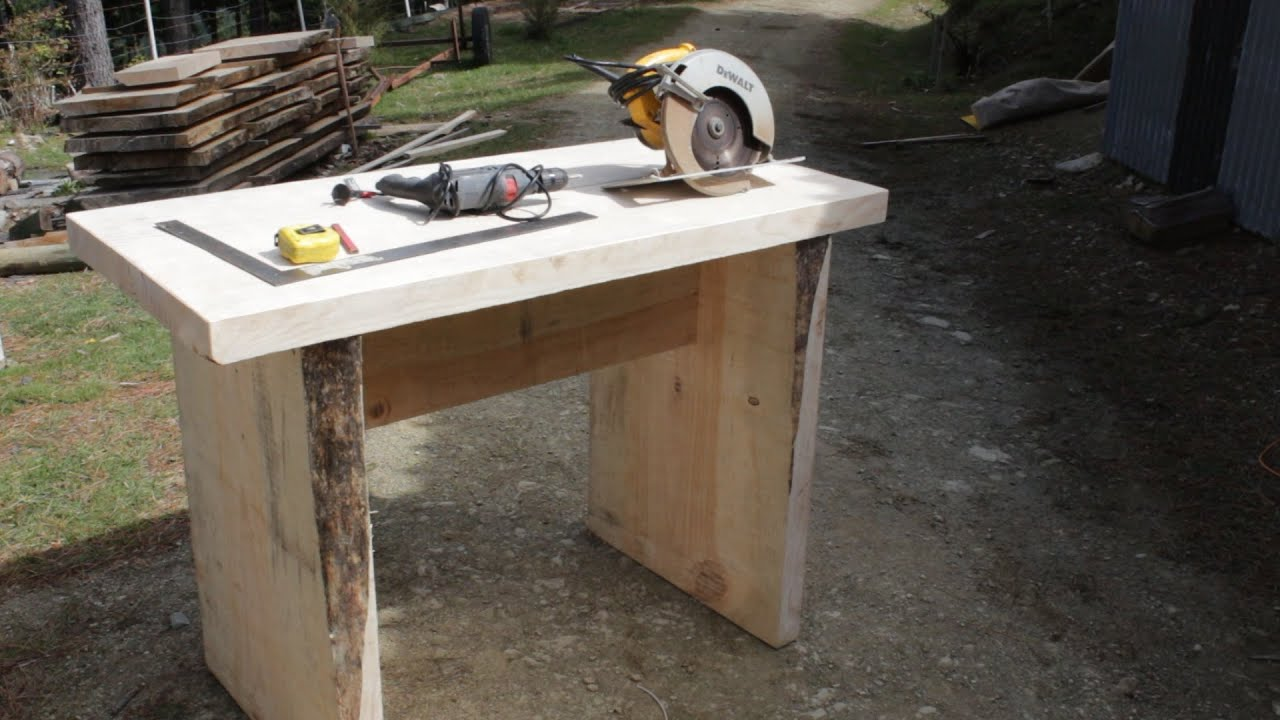 Superbe How To Build A Solid Slab Wood Table Using Basic Tools, Took Less Than 2  Hours To Make   YouTube