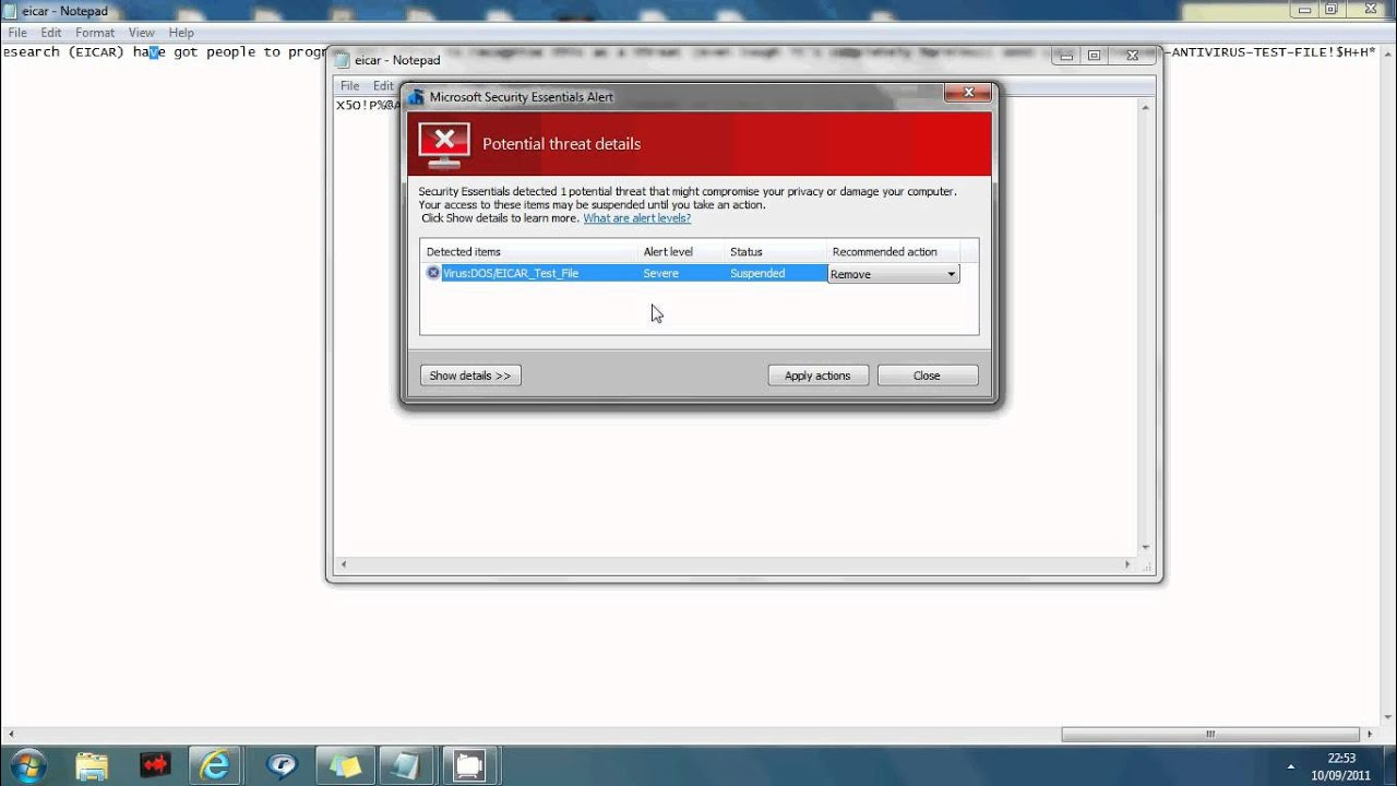Free AntiVirus Test Tutorial screencam G69SHANX