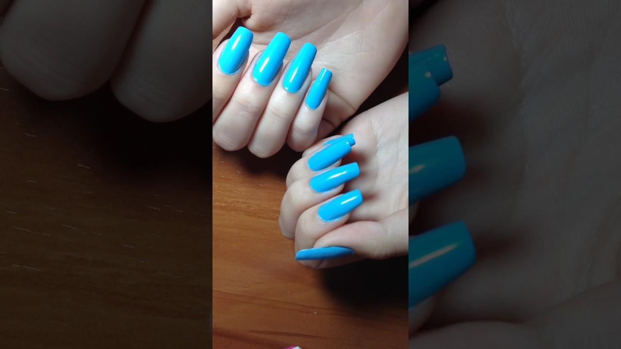 Nice blue new polish, natural long nails wearing cool polish - YouTube