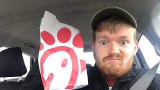 Chatting and answering questions while eating Chic Fil A