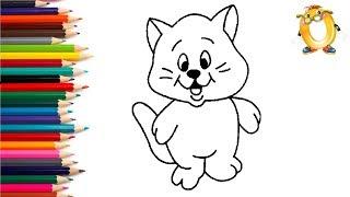 Раскраска для детей КОТИК. Мультик - Раскраска. Учим цвета II ОБУЧАШКА ТВ
