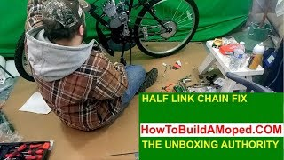 Half Link Chain Fix Modification Tutorial Hack How To Build a Motorized Bicycle Part 15