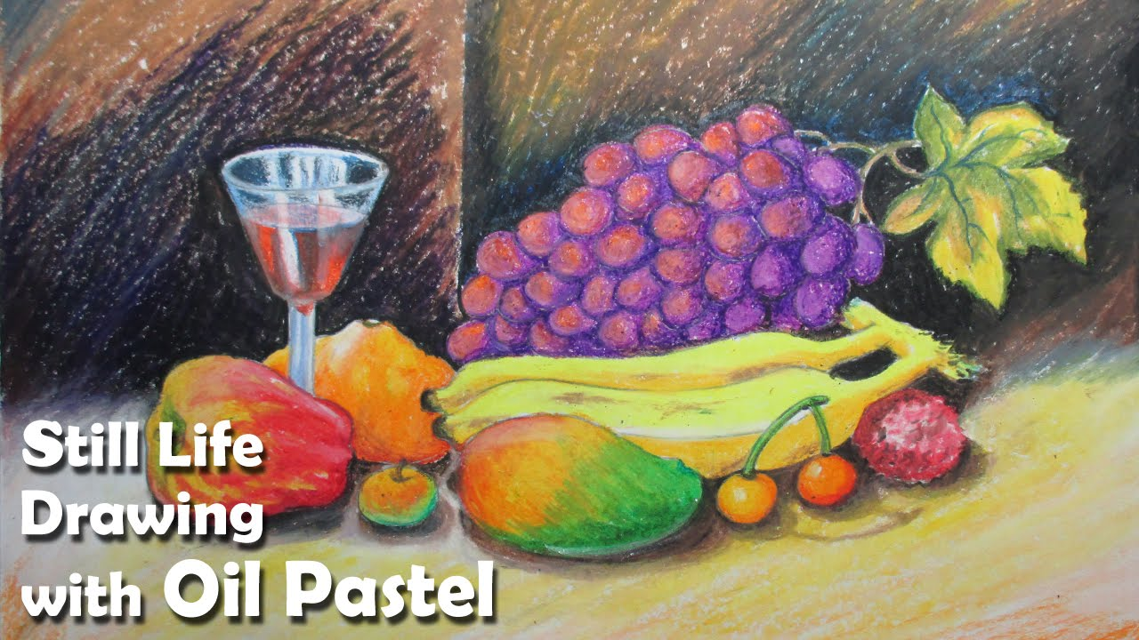 How To Paint A Still Life Fruits In Oil Pastel Step By Step