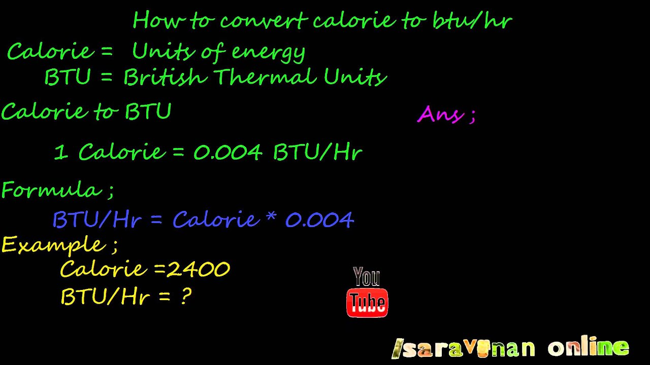 How To Convert Calorie To Btu Youtube