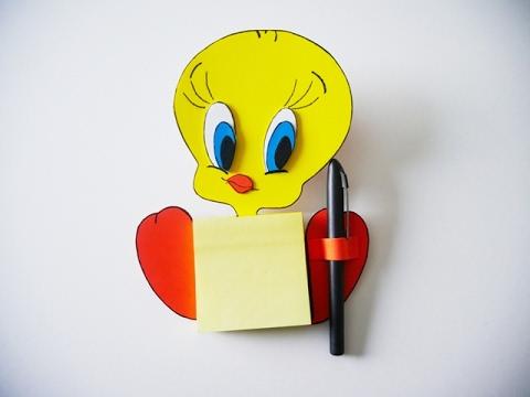 DIY Tweety Magnetic Notes For Fridge