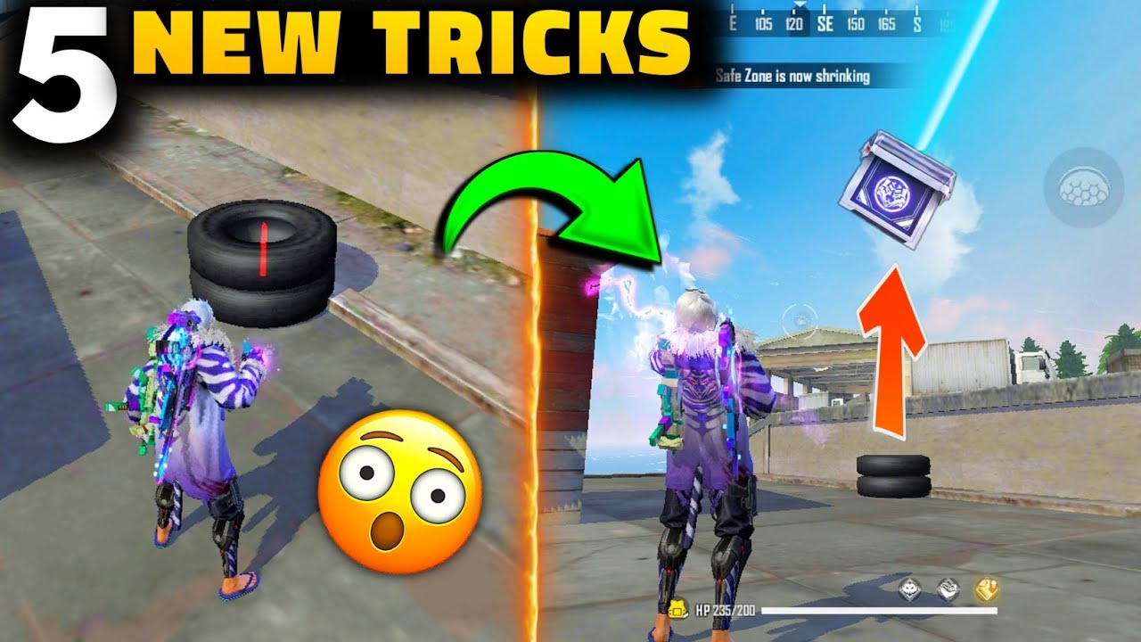 TOP 5 UNBELIEVABLE TRICKS IN FREE FIRE   SUMMON AIRDROP ON TYRE   RAMPAGE : NEW DAWN