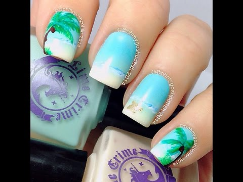 Summer Beach nail art - Summer Beach Nail Art - YouTube