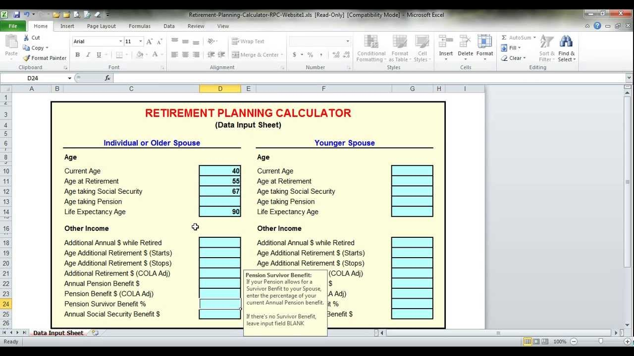 retirement planning calculator rpc tutorial youtube
