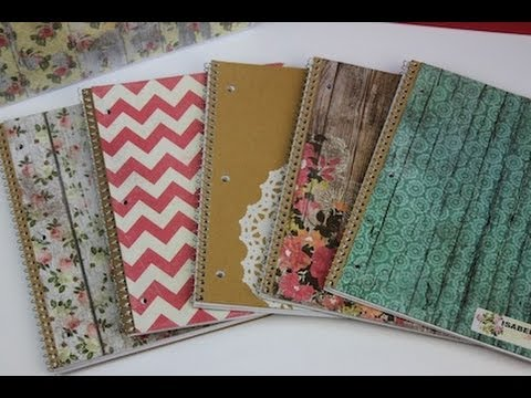 Diy notebooks school supplies showmecute youtube for Back to school notebook decoration ideas