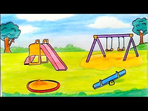 رسم سهل رسم حديقة العاب تعليم رسم حديقة العاب رسم حديقة للمبتدئين رسومات سهله كيفية رسم حديقة رسم Youtube