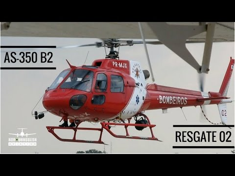 Landing Pouso Helicóptero Eurocopter Helibras Esquilo AS-350 B2   Bombeiros de Brasília   PR-MJX