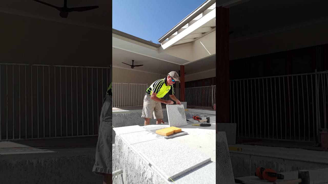 Laying Granite Coping Tiles On Pool