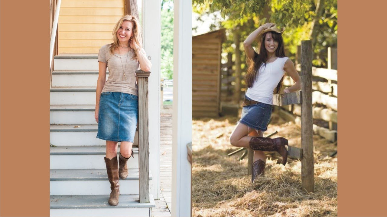 jean skirt and cowboy boots