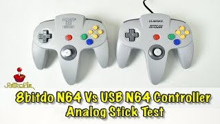 8bitdo N64 controller Vs USB N64 Controller Analog Stick Test Retropie