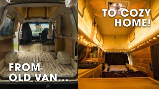Converting an Old Van into a Cozy Home and Office! (Campervan Conversion & Tour)