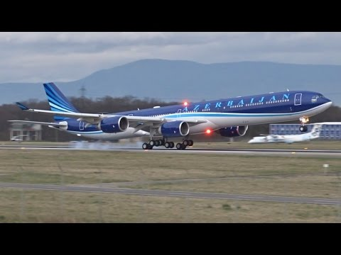 [FullHD] Azerbaijan Government Airbus A340-600 landing & takeoff at Geneva/GVA/LSGG