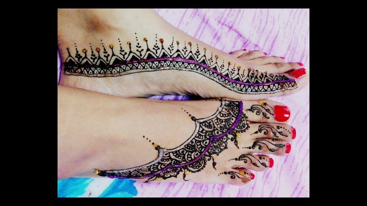 Simple diwali Mehendi henna design on Feet part 2 - YouTube  Simple diwali M...