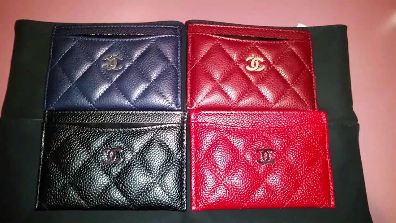 18e438ce70ca Chanel caviar card holder collection - YouTube