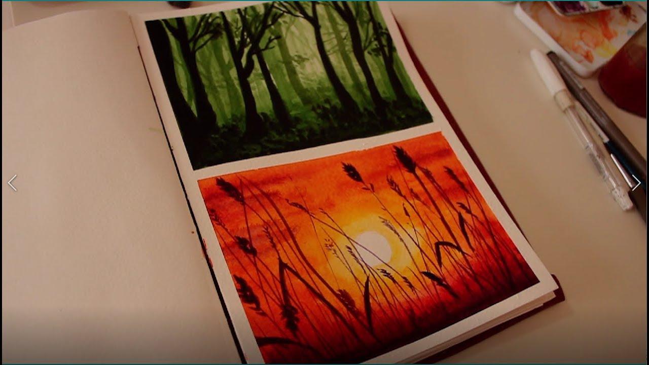Elinde güneş tutan kız resmi | Günbatımı manzara Suluboya çalışması | Sunrise and Girl painting