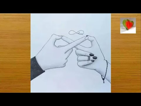 How to draw infinite love symbol with couple hand ...