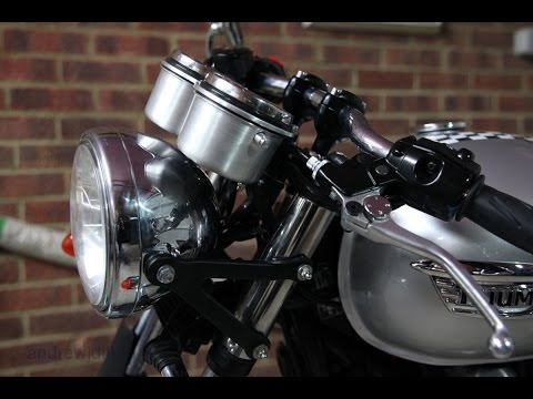 Triumph Thruxton - installation of D9 lie-flat ignition relocation bracket & instrument cups