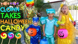CLOWN TAKES OUR HALLOWEEN CANDY! -- Family Fun Pack Skit