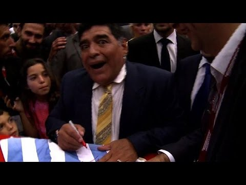 Diego Maradona attends football forum in Jordan