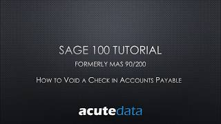 Sage 100 How to Void a Check in Accounts Payable