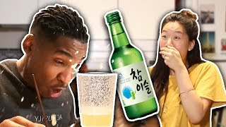 My Fiance Tries Korean Drinks For The First Time! | SLICE n RICE 🍕🍚