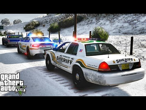 GTA 5 MODS LSPDFR 991  - CVPI SHERIFF SNOW PATROL!!! (GTA 5 REAL LIFE PC MOD)