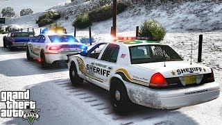 GTA 5 MODS LSPDFR 991  - CVPI SHERIFF SNOW PATROL!!! (GTA 5 REAL LIFE PC MOD)
