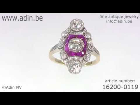 Stunning Belle Epoque Art Deco diamond and ruby engagement ring. (Adin reference: 16200-0119)