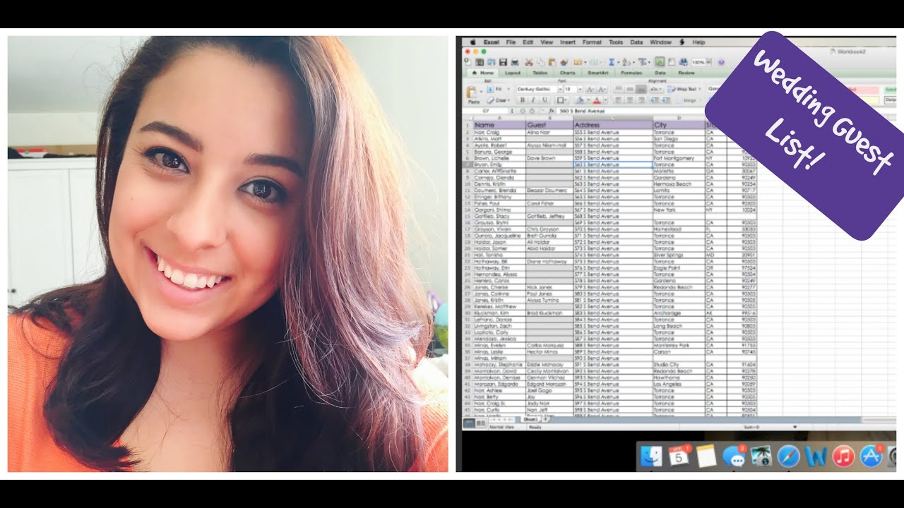 How to organize your Guest List on Excel! | Wedding Planning - YouTube