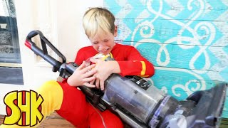Kids Chores Challenge Vacuum Cleaning Superspeed! SuperHeroKids Funny Family Videos Compilation
