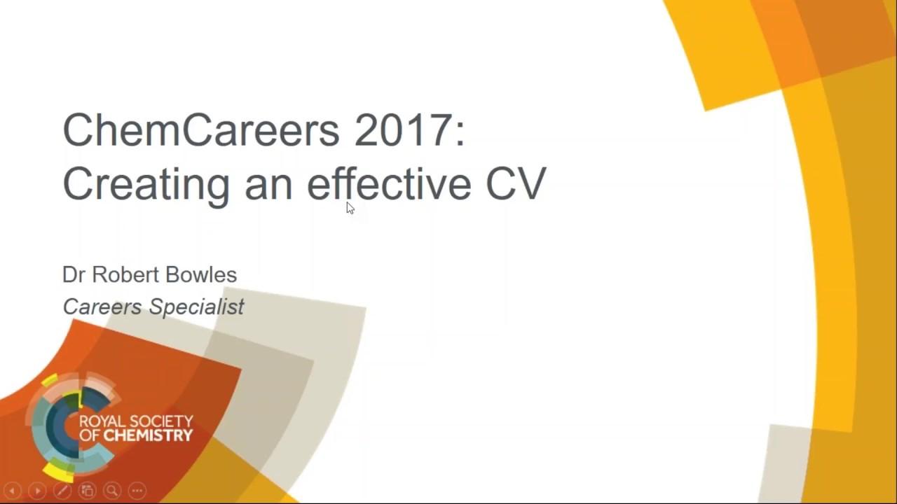 ChemCareers 2017 Creating an effective CV - YouTube