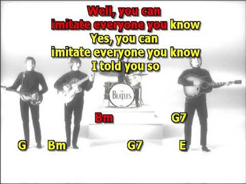 Dig a pony Beatles best karaoke instrumental no solo lyrics chords