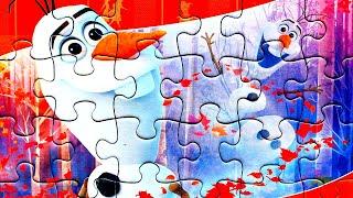 Холодное сердце 2 - Снеговик Олаф веселится - собираем пазлы для детей с героями мультика Frozen 2