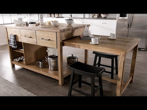 Tali Reclaimed Wood Extendable Kitchen Island By Inspire Q Classic Youtube