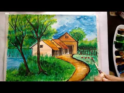 Scenery painting with huts | Landscape watercolour painting