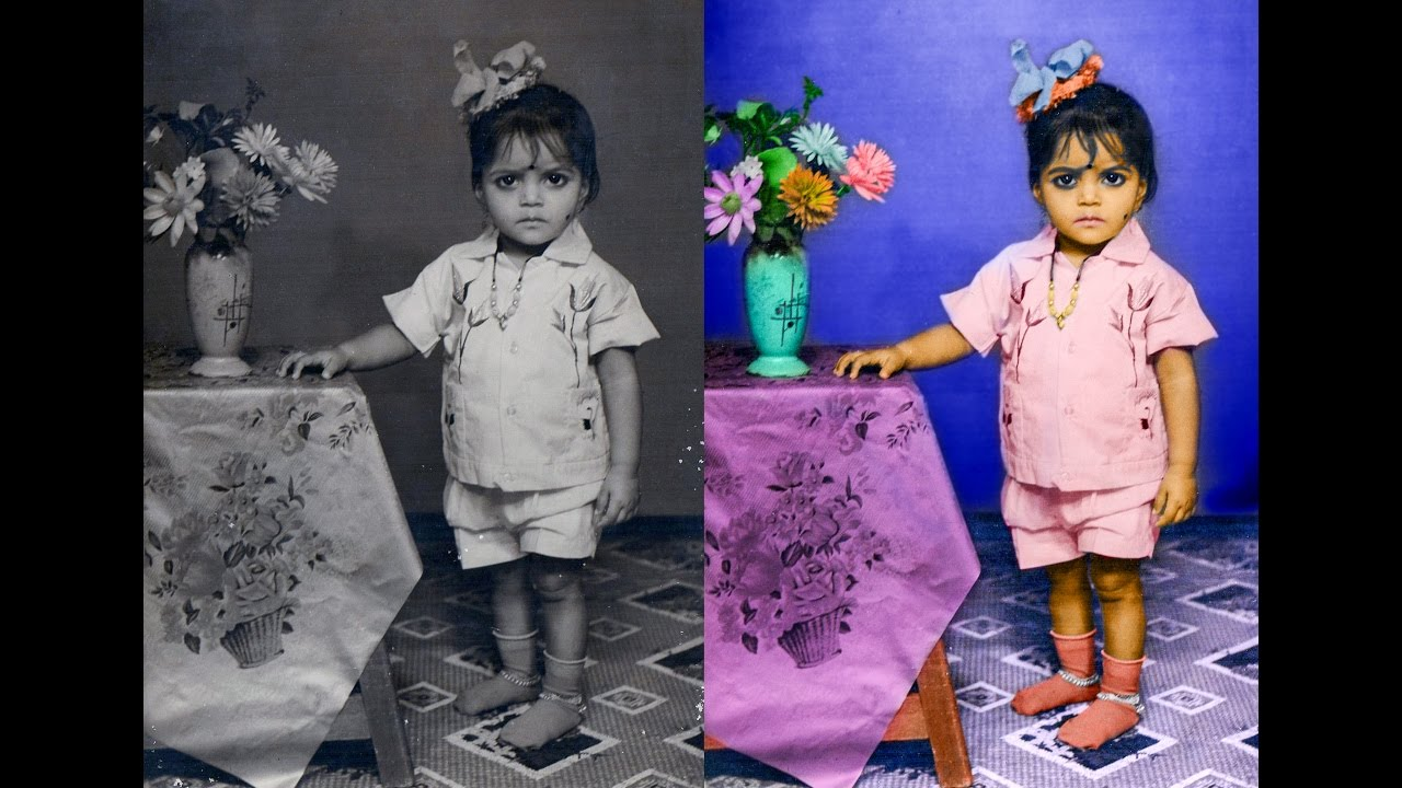 How to restore old black and white photo to colour photo 2