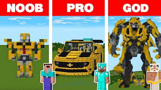 Minecraft NOOB vs PRO vs GOD: BUMBLEBEE HOUSE BUILD CHALLENGE in Minecraft Animation