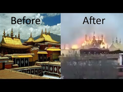 Jokhang Monastery, before and after the fire, sacred Tibetan monastery in Lhasa hit by fire,