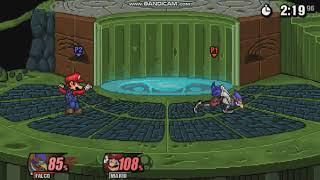 SSF2 Beta| Falco Shadow Boxing vs CPU Mario
