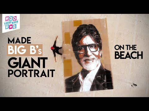 Painted Amitabh Bachan's GIANT portrait on the beach on old cartons   BIG PICTURE   IN HINDI