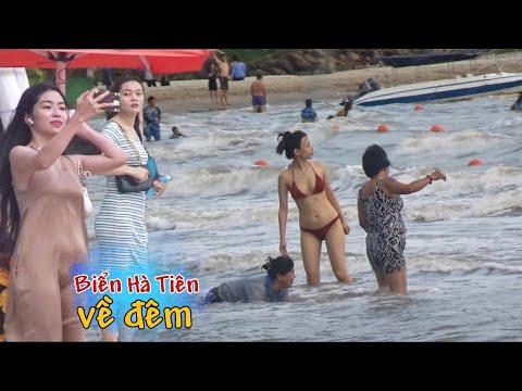 Du Lịch Hà Tiên Kiên Giang : đông Vui Bãi Tắm Về đêm