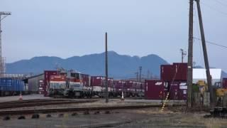 コンテナ積荷作業 貨物列車